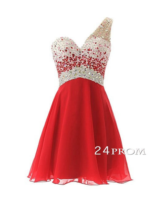 Red Chiffon one shoulder Short Prom Dresses, Homecoming Dresses