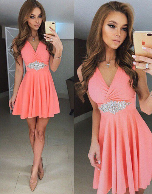 Cute v neck short prom dress, pink homecoming dress