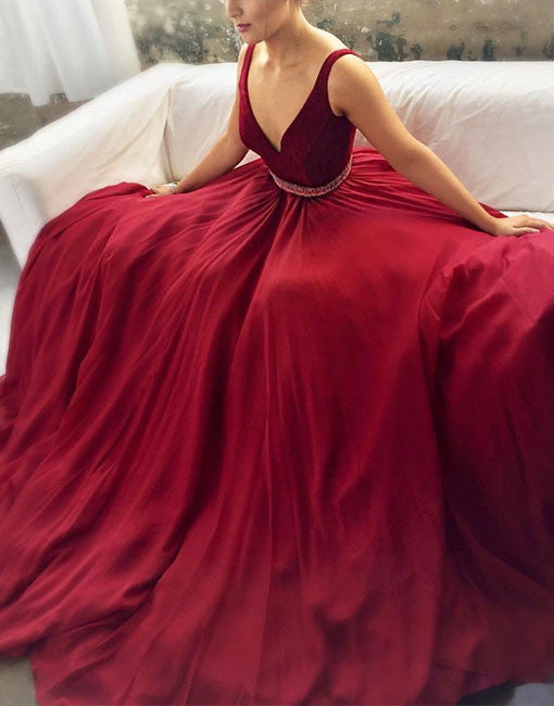 Cute v neck red long prom dress, red evening dress