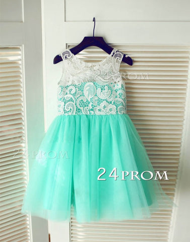 Turquoise Aqua Blue Tulle Ivory Lace Flower Girl Dress Children Toddler Dress