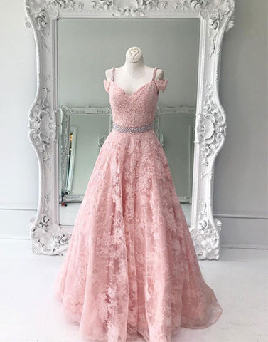 Pink off shoulder lace long prom dress, pink lace evening dress