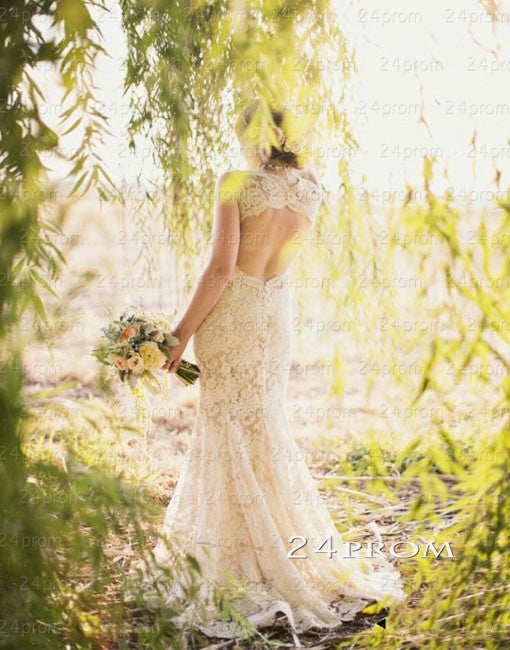 Charming A-line Mermaid Backless Long Lace Wedding Gown