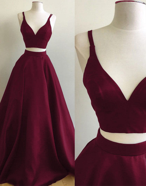 Simple two pieces burgundy long prom dress e0d348fc6