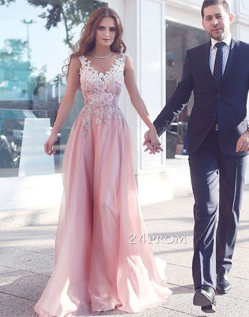 Custom made v neck pink lace long prom dress, pink evening dress