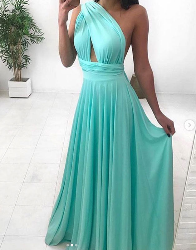 Simple green chiffon long prom dress, green evening dress