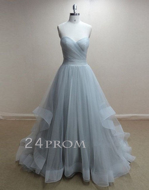 Tulle A-line Sweetheart neckline Long Prom Dresses, Formal Dress
