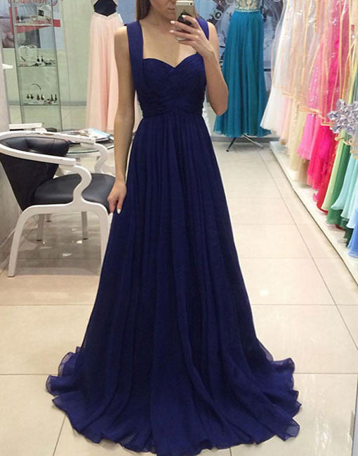 Simple Royal blue chiffon long prom dress, blue bridesmaid dress