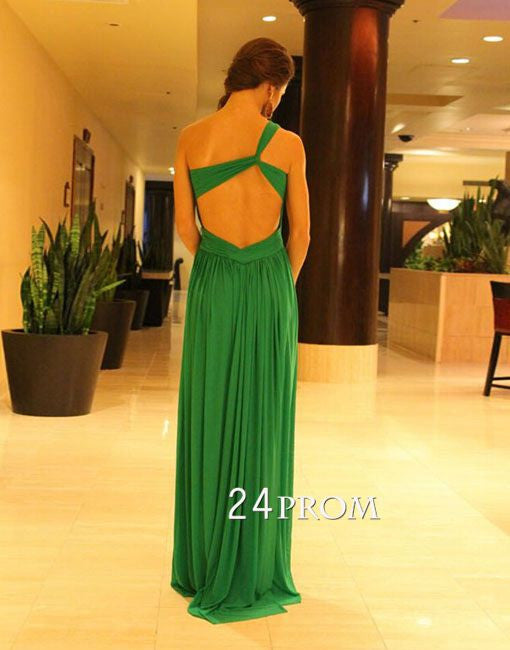 Green A-line Backless Long Prom Dresses,Formal Dresses