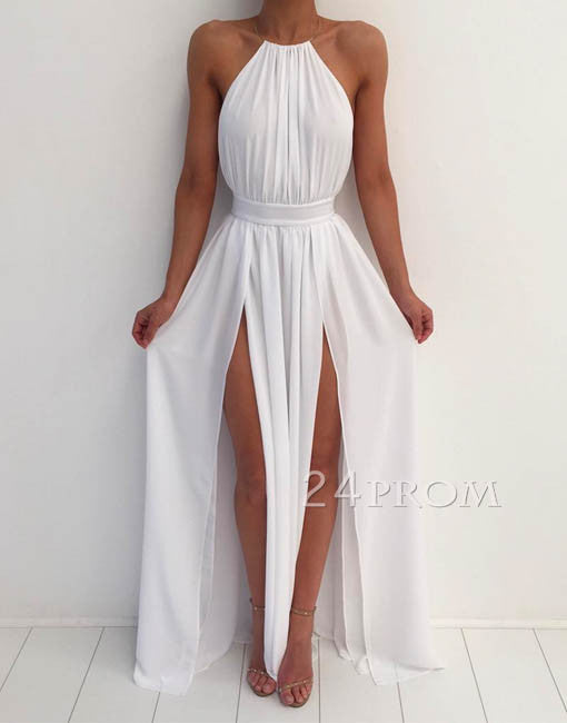 74caab8c55a Simple white A-line backless long prom dress