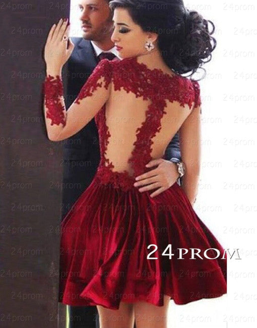 Red A-line Short Lace Prom Dresses, Homecoming Dresses