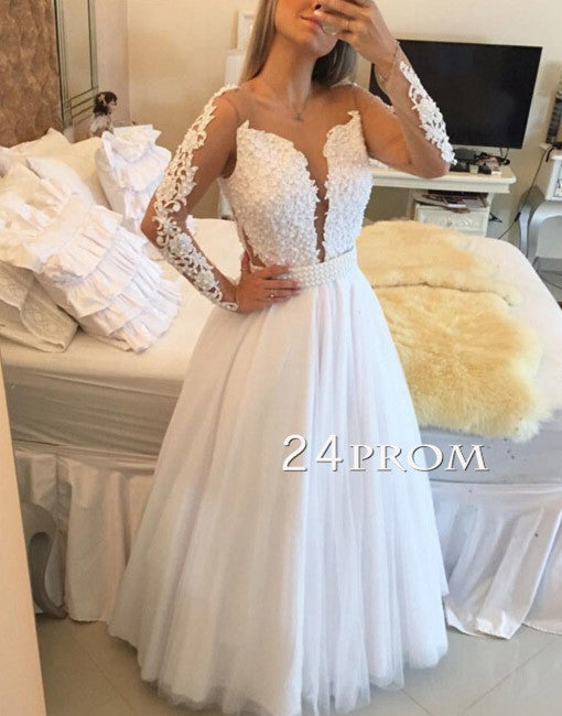 White A-line Lace tulle long prom dress, evening dress