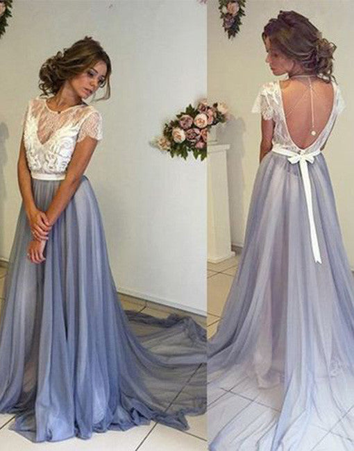 Unique white lace long prom dress, backless evening dress