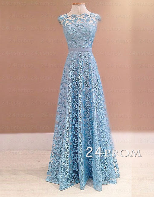 Blue A-line Lace Long Prom Dresses, Bridesmaid Dress