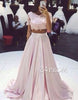 Custom made 2 pieces pink chiffon lace long prom dress, evening dress