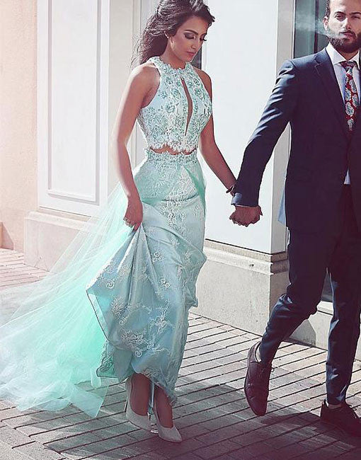 Light green two pieces lace long prom dress, green evening dress