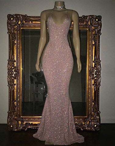 Pink sequin mermaid long prom dress, sequin evening dress