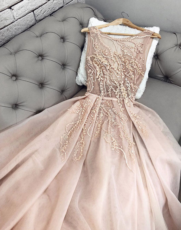 Champagne tulle lace long prom dress, champagne formal dress