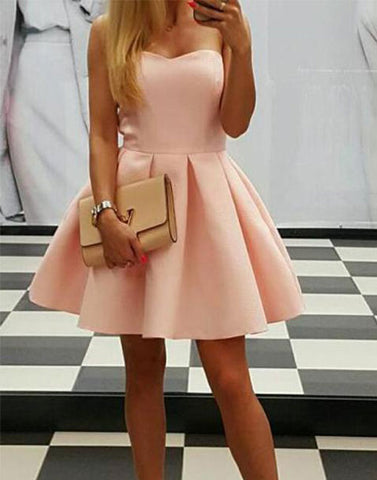 Cute satin short prom dress, cute homecoming dress