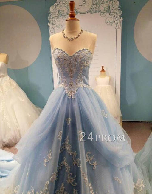 Custom Made Sweetheart Tulle Lace Long Prom Dress, Evening Dresses