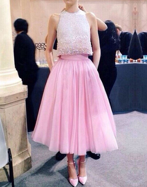 Cute two pieces sequin pink prom dress, pink evening dress