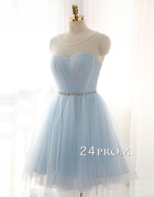 Cute round neck tulle light blue short prom dress, bridesmaid dress