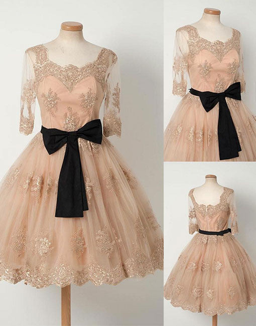Unique tulle lace retro short prom dress, bridesmaid dress