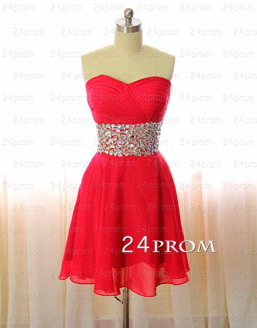 Sweetheart A-line Red Short Prom Dress,Homecoming Dress