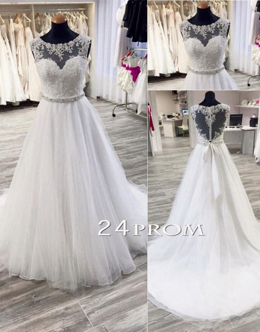 White Round Neck Tulle Lace Long Wedding Dresses, Bridal Dresses