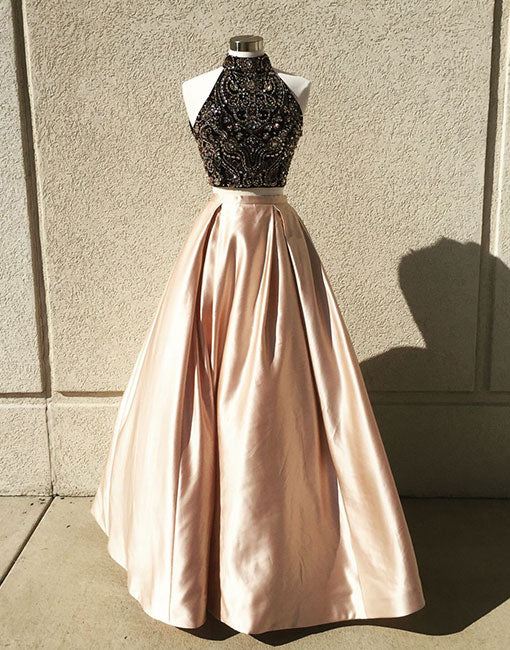 Champagne two pieces beads long prom dress, evening dresses