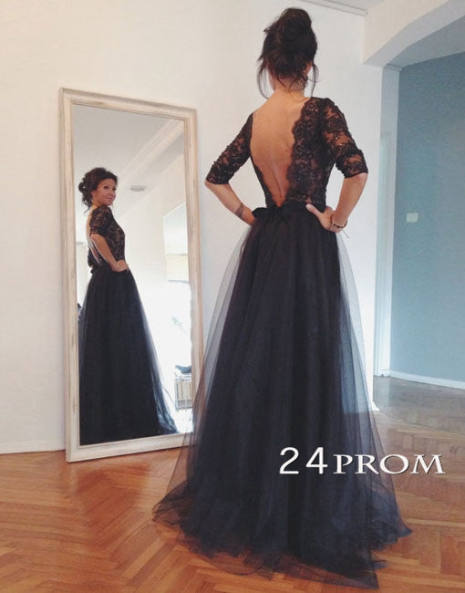 Custom Made Black Lace Tulle Long Prom Dresses, Formal Dresses