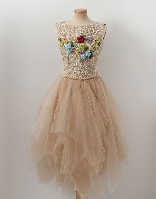 Champagne tulle beads short prom dress, champagne tulle homecoming dress