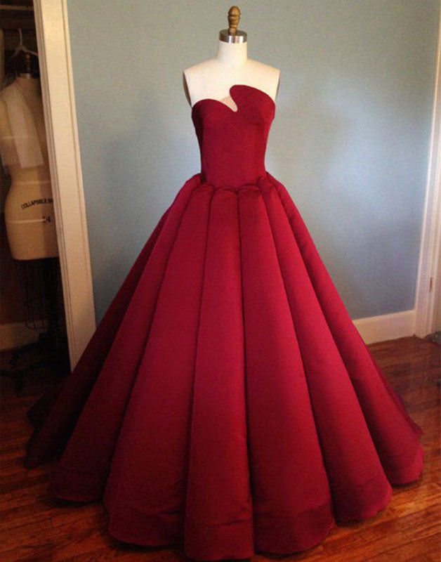 Burgundy satin long prom dress, burgundy evening dress
