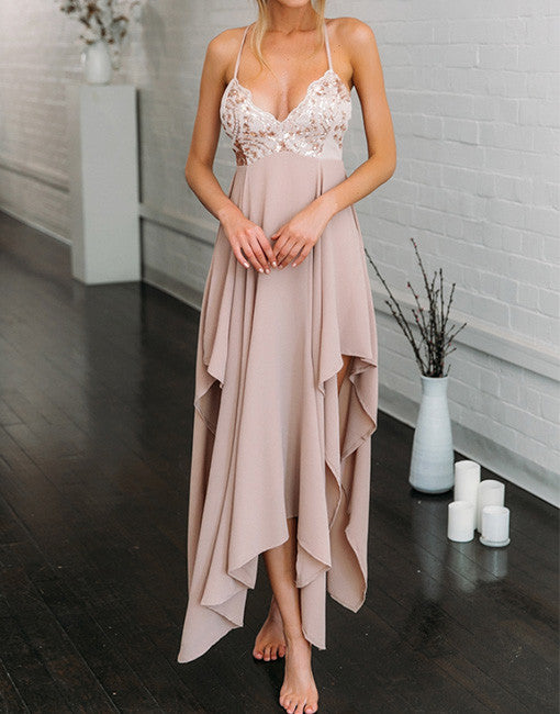 pink chiffon sweetheart irregular long prom dress, evening dress