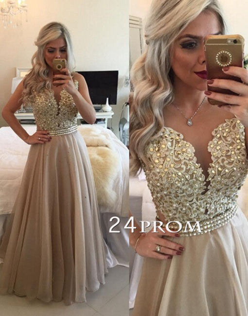 Champagne A-line Lace Chiffon Long Prom Dresses, Evening Dresses