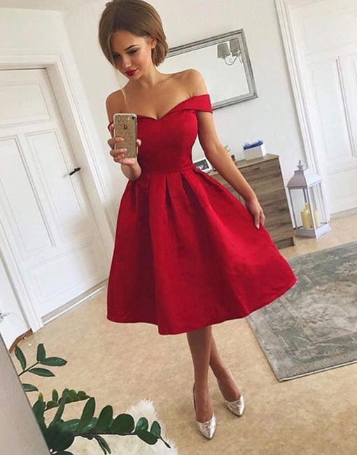 Simple Off Shoulder Red Short Prom Dress Homecoming Dress Prom24