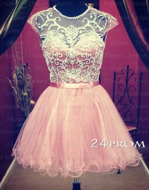 A-line Round Neckline Tulle Short Prom Dresses, Homecoming Dresses