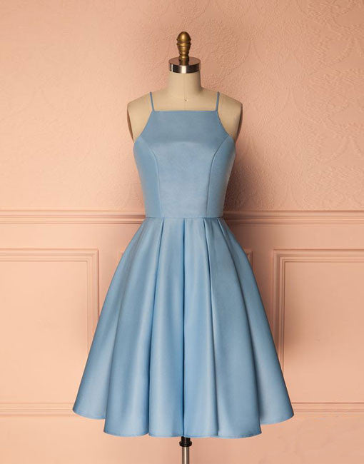 Simple blue short prom dress, blue homecoming dress