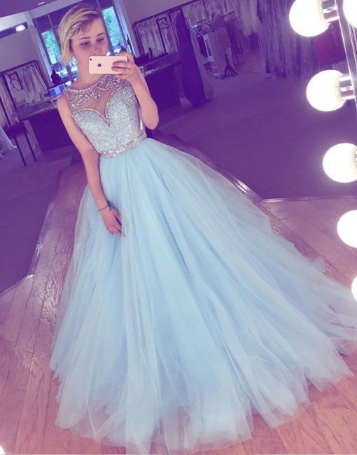 Cute blue tulle sequin long prom dress, blue evening dress