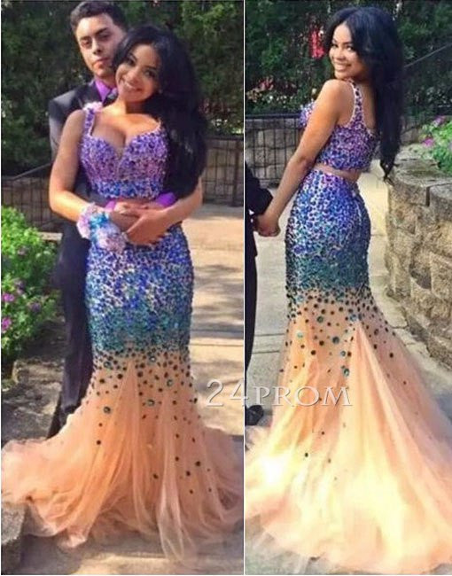 Purple rhinestone sequin tulle mermaid 2 pieces long prom dress, evening dress