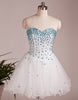 A-line Sweetheart White Short Prom Dress,Homecoming Dress