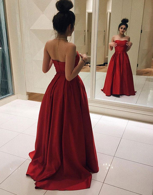 Simple red satin long prom dress, simple red evening dress