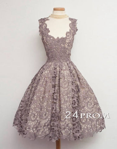 A-line Lace Short Prom Dresses, Bridesmaid Dress