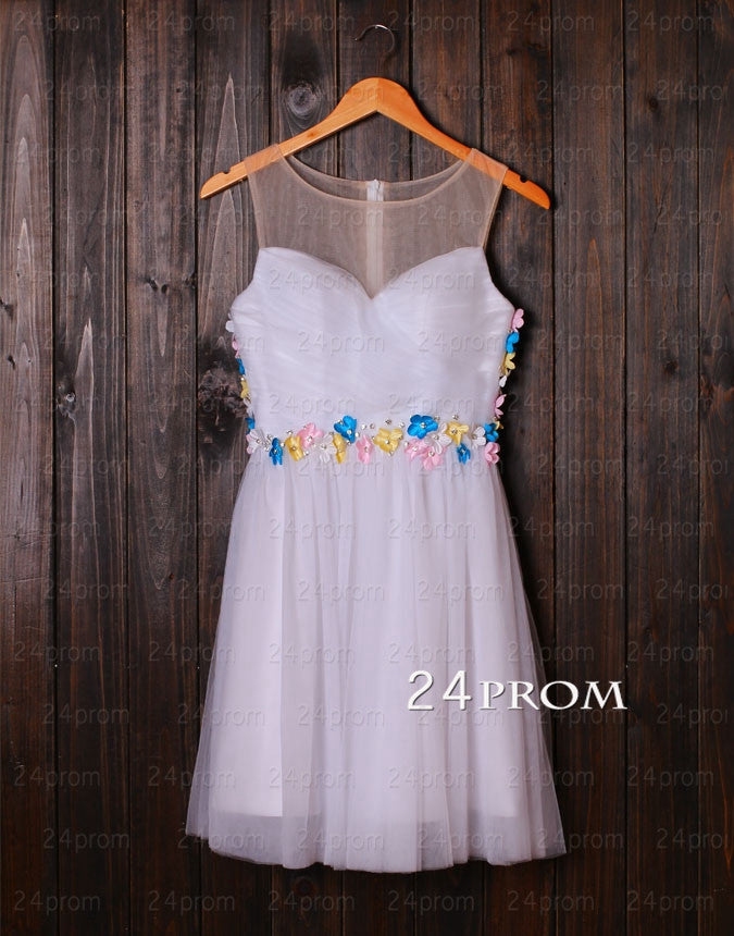 White A-line Tulle Short Prom Dresses, White Homecoming Dresses