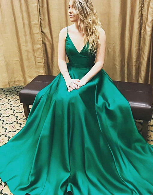 Simple v neck green long prom dress, green evening dress