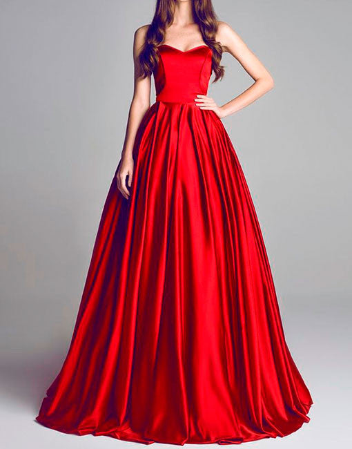 Simple red long prom dress, red evening dress
