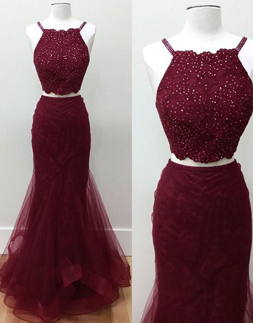 Burgundy two pieces sequin lace long prom dress fb35f2522
