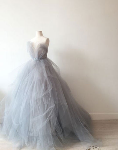 Unique sweetheart neck gray tulle long prom dress, evening dress