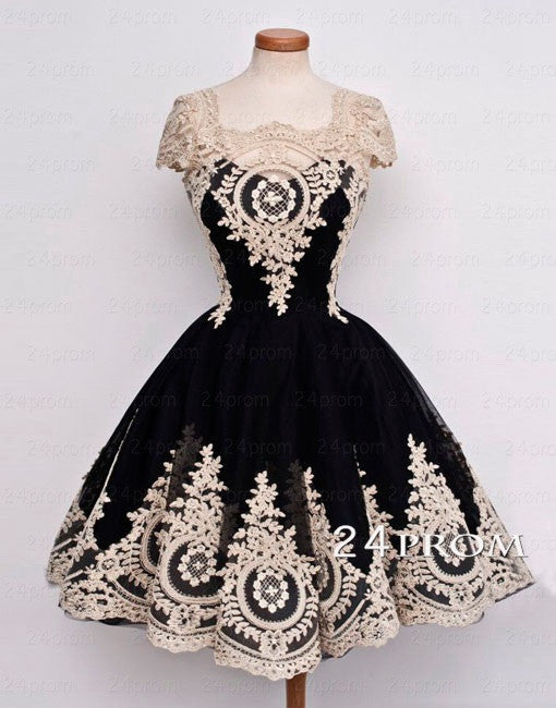 Black Tulle Lace Short Prom Dress,Homecoming Dress