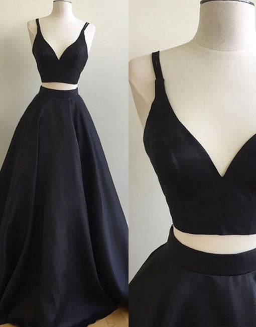 Simple two pieces black long prom dress, black evening dress