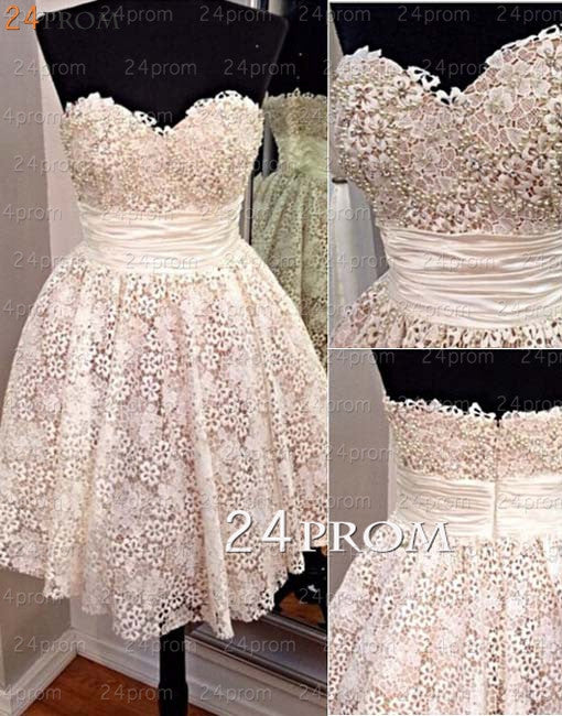 2b9694942b0 Sweetheart White A-line Lace Short Prom Dress